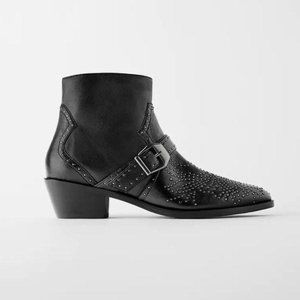 ZARA | Cowboy Heel Leather Ankle Boots Micro Studs